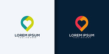 Creative Love Location Logo Design Concept Line Art Style. Combine Heart, Pin, Map And People Logo Design Vector