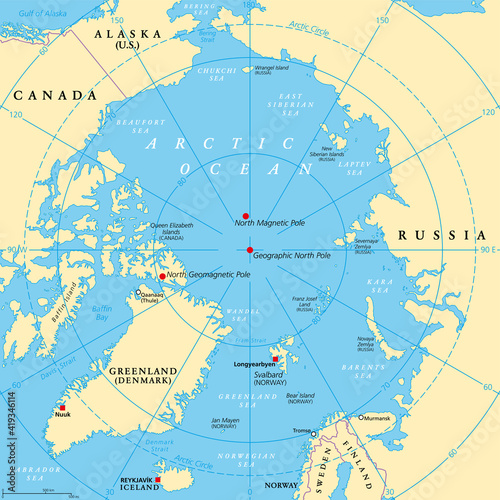 Canvas Geographic position of the North Pole of the Earth, political map