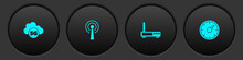 Set Cloud 5G Network, Antenna, Router And Wi-fi Signal And Digital Speed Meter Icon. Vector.