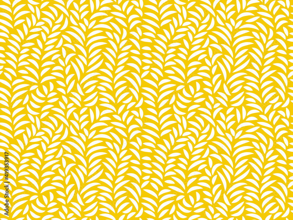 Fototapeta Yellow Leaves Pattern - Seamless Vector Background