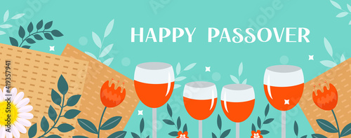 Obraz Passover banner. Pesach template for your design with matzah and spring flowers. Happy Passover inscription. Jewish holiday background. Vector illustration - fototapety do salonu