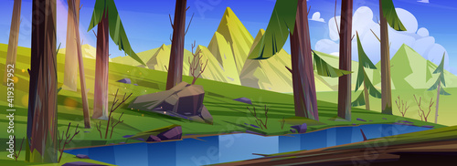 Mountain landscape with forest and water stream Fotobehang