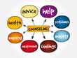 Counseling mind map, concept for presentations and reports