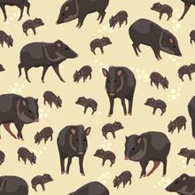 Seamless Pattern. Collared Peccary Pecari Tajacu. Wildlife Of Amazonia And South America. Vector Realistic Illustration