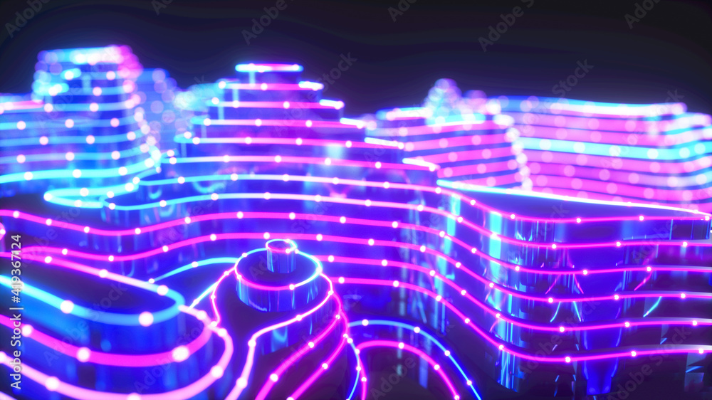 Fototapeta Colorful urban background, big data, geometric structure, wavy, cyber safety, quantum computer, storage, virtual reality, futuristic pink blue neon light close up. 3d rendering