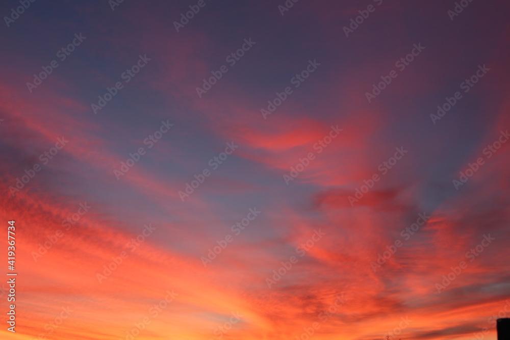 Fototapeta red sunset sky