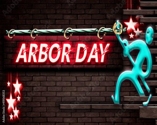 Holiday Arbor Day, Neon Text Effect on Bricks Background Tapéta, Fotótapéta