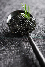 Closeup Of Spoon With Black Caviar