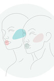 Tender relationships between two characters. Abstract portrait sketch. Same direction sight. Artistic minimal design on white using black outline and colorful spots. Simple, light and airy artwork. - 419370986