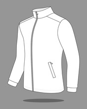 White Jacket With Stand Up Collar Template Vector On Gray Background