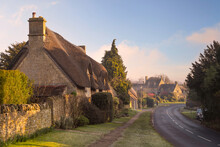 Thatched Cottages At Chipping Campden, Cotswolds, Gloucestershire, England.