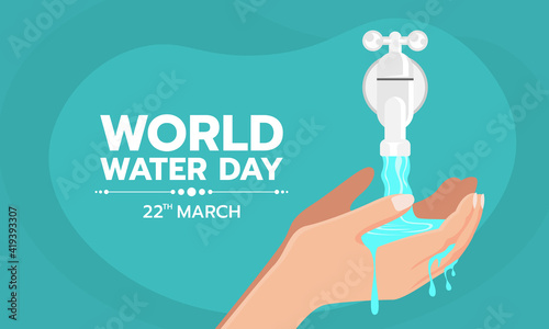 Obraz World water Day - Hands collecting water from tap water vector design - fototapety do salonu