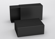 Package Cardboard Sliding Drawer Black Box. For Small Items, Matches, And Other Things. 3d Render