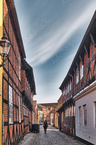 Canvastavla Cobbled streets in the old medieval city Ribe, Denmark