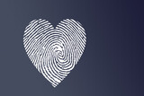 Illustration of a white heart imprint isolated on a dark blue background