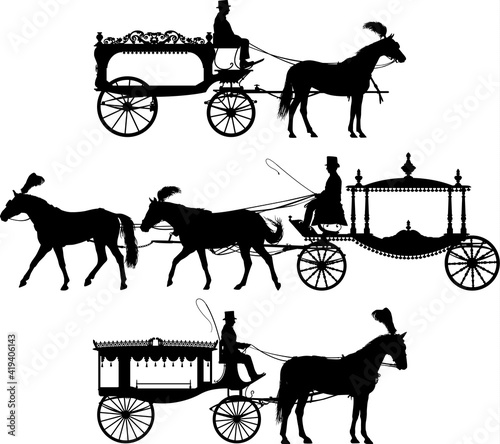 Fotomural Three different horse drawn hearse carriage vector silhouette