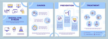 Digital Eye Strain Brochure Template. Illness And Vision Problem. Flyer, Booklet, Leaflet Print, Cover Design With Linear Icons. Vector Layouts For Magazines, Annual Reports, Advertising Posters