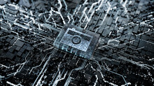 Photo Technology Concept With Camera Symbol On A Microchip. Data Flows From The CPU Across A Futuristic Motherboard. 3D Render.
