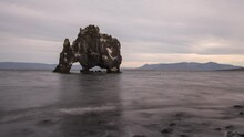 Hvitserkur Sea Stack Arch And Basalt Stack Rock Formation In Iceland Europe Ti