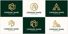 Abstract Monogram Letter N Logo Design Set, In Gold Color