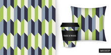 Geometric Seamless Pattern. Abstract Background With Elegant Green, Blue Stripes. Repeating Texture. Colorful Ornament In Stripe. Vector Illustration. Design Paper, Wallpaper, Textile, Fabric. Mockup.