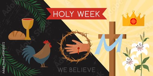 Vászonkép Holy week banner with a rooster, communion, palm branches, a wreath of thorns, the cross of Jesus Christ and a lily