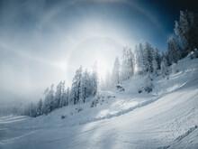 Sun Halo On A Cold Winter Day In The Zauchensee Ski Resort, Salzburg, Austria