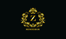 Stylish Design For Invitations, Menus, Labels. Elegant Gold Monogram On A Dark Background With The Letter Z. The Logo Is Identical For A Restaurant, Hotel, Heraldry, Jewelry.