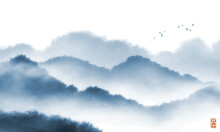 Landscape With Blue Misty Forest Mountains. Traditional Oriental Ink Painting Sumi-e, U-sin, Go-hua.