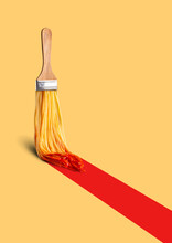 Photo Collage Of Paint Brush With Spaghetti In Red Ketchup Drawing Long Red Bold Stripe On Light Yellow Background. Creative Process, Brainstorming, Inspiration And Imagination Concept