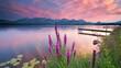 canvas print picture - frische Blumen am Bergsee
