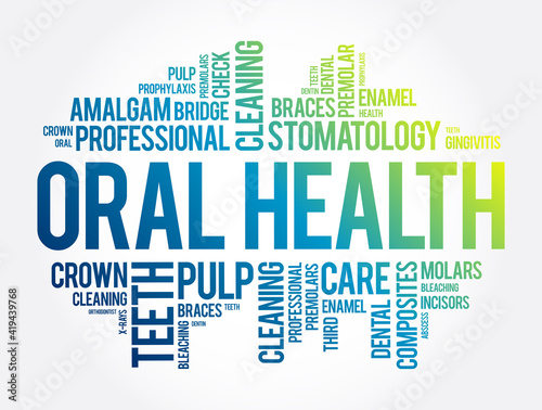 Fotografija Oral health word cloud collage, dental concept background