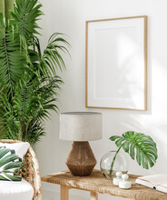 Home Interior With Rattan Chairs, Flowers And Poster Mockup, 3d Render