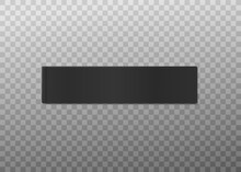 Blank Tag For Clothing, Black Textile Label A Vector 3d Isolated Illustration.