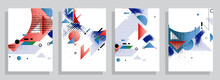 Abstract Background Creative Cover Set. Can Be Used For Collage Page, Greeting Card, Invitation, Brochure Brush Strokes Style, Banner Idea, Book Cover, Booklet Print, Phone Case Print, Eps10 Vector.