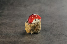 High Angle Of Fried Roll Of Japanese Sushi Roll With Sesame And Strawberry Slice
