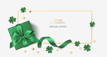 St Patrick's Day Sale Design Template. Green Gift Box With Clover Leaves And Golden Coin Confetti On White Background. Realistic Holiday Elements. Vector Stock Illustration.
