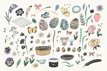 Easter Eggs And Objects  Vector Hand Drawn Illustrations Set