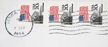 Briefmarke Stamp Vintage Retro Alt Old Post Letter Mail Brief Usa Amerika America Flagge Flag Denver Colorado 1984 September 20c Welle Wave Supreme Court