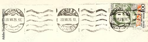 Obraz Briefmarke stamp vintage retro alt old post letter mail brief gestempelt used frankiert cancel tunesien tunesienne 1975 welle wave frankierung stampel - fototapety do salonu