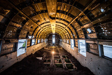 Perspective View Of Cabin Of Crashed Airplane Abandoned In Nature In Winter In Iceland