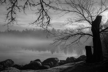 Lakeshore Scene In A Foggy Morning