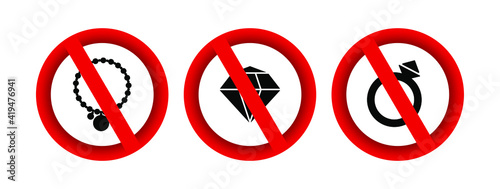 No jewelry forbidden sign vector icon