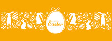 Orange Happy Easter Greeting Card With Easter Eggs And Rabbits. Minimalist Design For Packing Banner Header