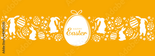 Obraz Orange happy easter greeting card with easter eggs and rabbits. Minimalist design for packing banner header - fototapety do salonu