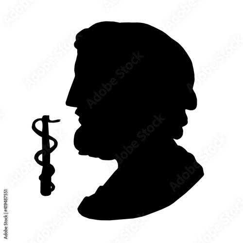Silhouette of god of treatment and medicine, Asclepius Fototapeta