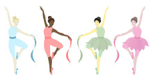 Vector Illustration Of Dancing Ballerinas.Prima In Tutu Skirt Ballet Costumes And Pointe Shoes.Girls Have Different Skin Colors.Ethnicity (national): African, Asian, Chinese, European, Latin American