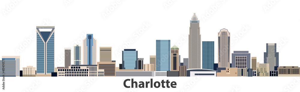 Fototapeta Charlotte vector city skyline