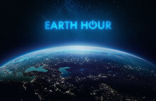 Earth Hour Theme. Earth Planet In Outer Space. Power Button Of Electricity. Elements Of This Image Furnished By NASA