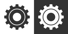 Set Of Gear Vector Icons Isolated On White And Black Backgrounds. Symbol Of Setting In Flat Design. Cogwheel Tool Or Button For Web Application Or UI. Technical Concept. Mechanism Repair.